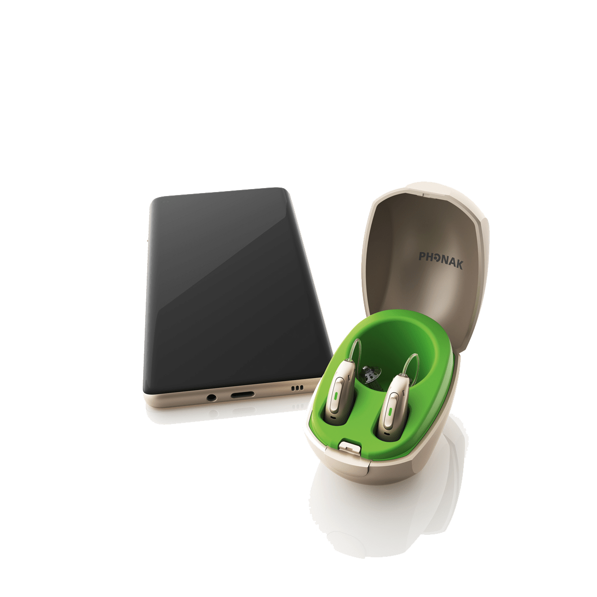 Wireless charger case for hearing aids